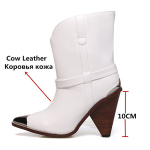 Image 2 - FEDONAS Women Brand Midcalf Boots Sexy Pointed Toe Autumn Winter Metal Toe Party Dancing Shoes Woman High Genuine Leather Boots