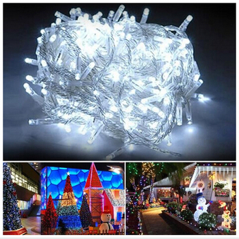 Blau Weiße Vorhänge | 220 V 30 Mt 300LED Weihnachts Garland Partei Fairy Lichterketten 8 Modi Einstellbar Controller Mit Männlich/weiblich Verbinden