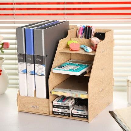 desk office file document paper. Multifunction Office Paper Tray Made Wood Document Desk Organizer Desktop File Holder Box E