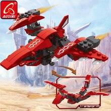 Building-Blocks Transform Planes AUSINI Dragon Boys Educational-Toys Fighter Playthings-Model