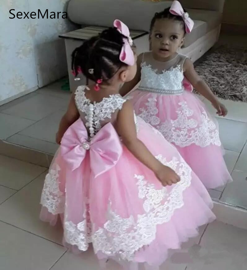 все цены на white lace pink tulle flower girls dresses with sheer neck lace girls pageant dress with bow sash back baby girl birthday gown
