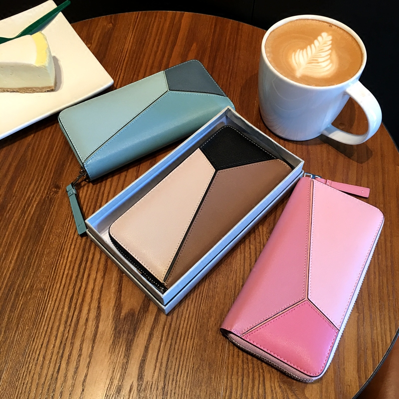 [Hely Coptar] 3Colors Genuine Cow Leather Geometric Patchwork Fashion Women Long Wallet With Zipper Pink Gray Blue 2017New игрушка ecx ruckus gray blue ecx00013t1