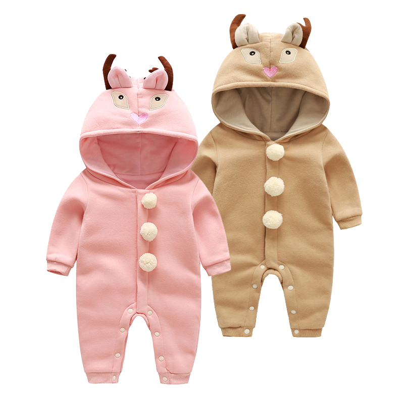 2018 Newborn Baby Clothes Autumn Infant Boys Animal Costumes Hoodie Cotton Rompers Baby Girls Pink Deer Style Jumpsuit Out Wear paul frank baby boys supper julius fleece hoodie