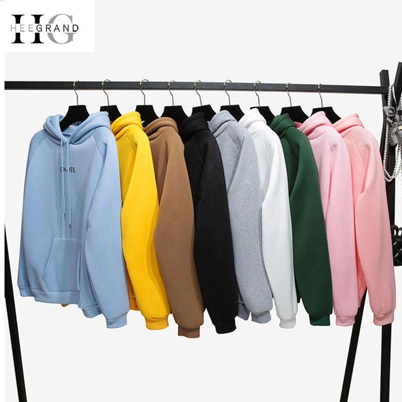 HEE GRAND OH YES 2019 New Long Sleeves Hoodies Letters Print Girls' Pink Pullovers Hooded Tops Women Hooded Sweatshirts WWW983