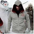 Nueva primavera Otoño Invierno Moda Assassins Creed 3 Hoodie Sudadera Hombre Trajes de Cosplay Fresco Cremallera Sudaderas Con Capucha de Los Hombres