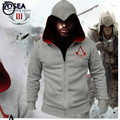 Spring New Fashion Autumn Winter Assassins Creed 3 Hoodie Sweatshirt Hombre Cosplay Costumes Cool Zipper Hoodies Men
