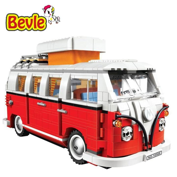 Bela 10569  Series Volkswagen T1 Camper Van Model Sets Building Kit Blocks Bricks Toy Compatible With LEPINd 10220 edge clothing 10569