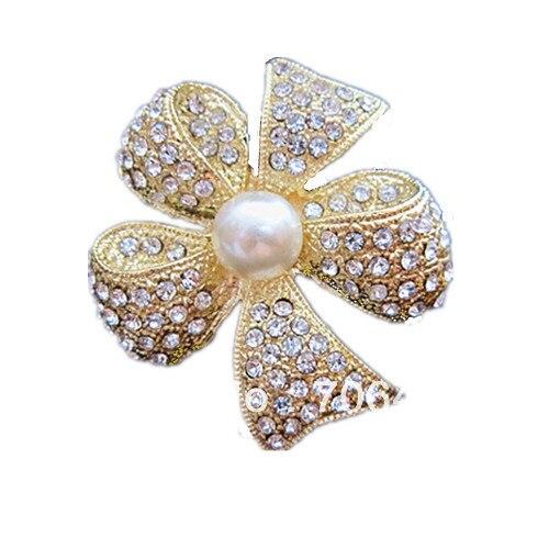 Золото Цвет ясно Украшенные стразами Diamante и Кот с жемчужным бантом контактный брошь 6 шт. в партии