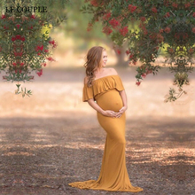 Le Couple Cotton Maternity Photography Dresses Cotton Ruffles Maxi Maternity Gown For Photo Shoot Pregnancy Dresses