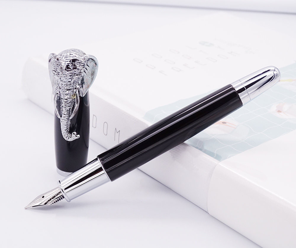 Fuliwen Fountain Pen Elephant Head on Cap, Delicate Black Signature Pen, Medium Nib Business Office Home School Supplies
