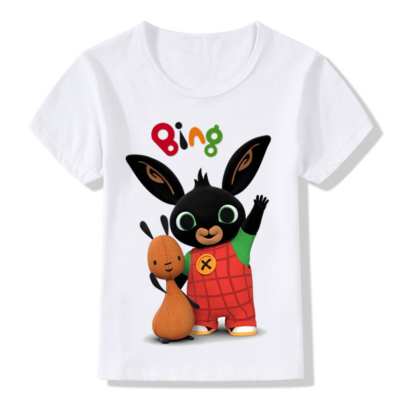 Cartoon Bing Rabbit/Bunny Design Children's Funny T-Shirts Boys/Girls Cute Tops Tees Kids Summer Casual Clothes For Baby,ooo5169