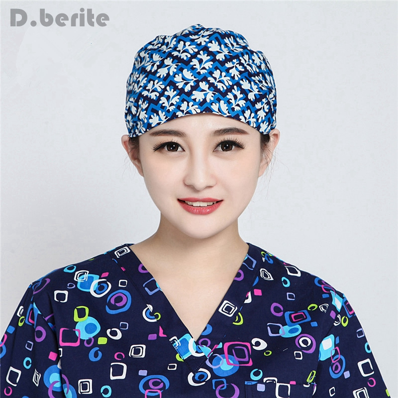 Men Women Doctor Nurse Printing Scrub Cap Unisex Solid Medical Lab Surgical Surgery Hat Newest DAJ9303-9306 300 aaron printing doctor blade for printing machinery w30 40mmxt0 2mmxl100m