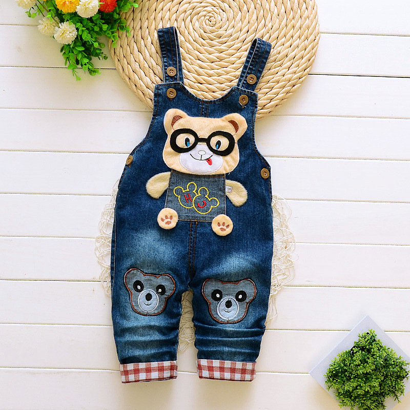 BibiCola 2017 Summer Baby  Boys Girls Cartoon Overalls Denim Pants  Children Unisex Jeans  Jumpsuit  Pants Kid  Clothing