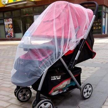 One Piece Mesh Cloth Baby Infant Toddler Crib Netting Carriage Stroller Pram Mosquito Net Plus Size White crash bar mt 09