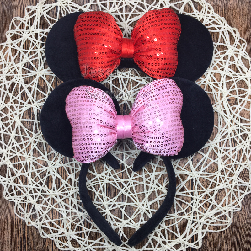 10pcs Big Minnie Headband Cute Ear Hairband Sequis Minnie Mouse Bowknot Kids Christmas Party Headwear Travel Hair Accessories