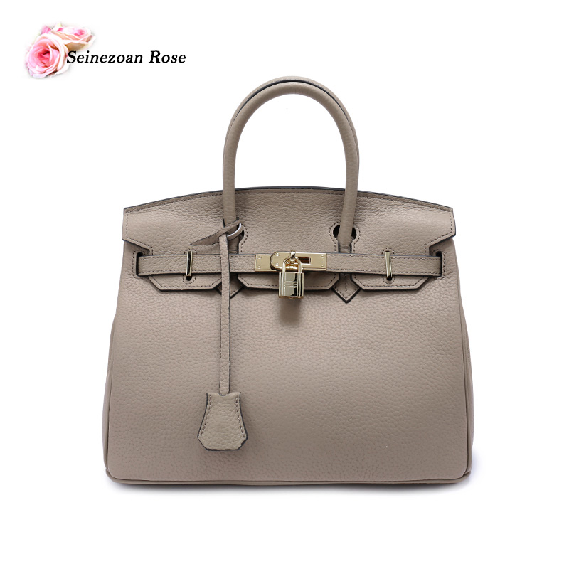 2016 Luxury Women 100 Genuine Togo Leather font b Top handle b font Handbags Famous Brands