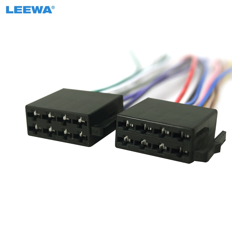 ₩LEEWA Universal Male ISO Radio Wire Cable Wiring Harness Car Stereo ...