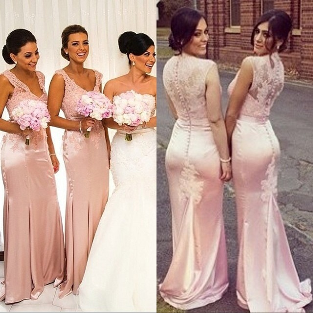Hot Mermaid Bridesmaid Gown Navy Blue Peach Ivory Champagne Silver Yellow