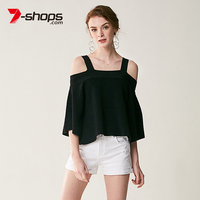 7 Shops AB0129 Off Shoulder Women Crop Top Plus Size Three Quarter Sleeve Spried Knit Jumper Summer Shirt Female Tank Tops 2018