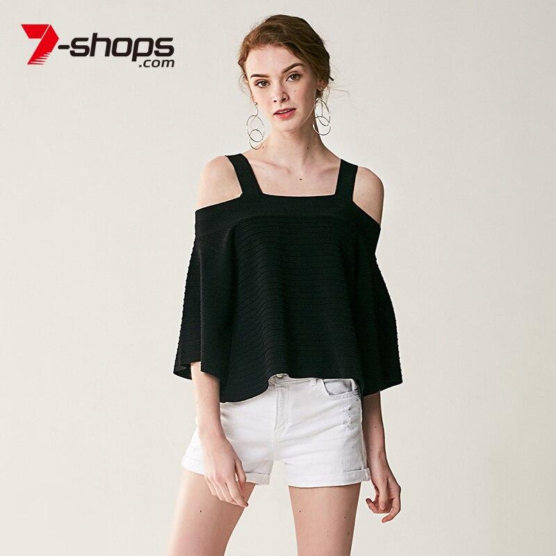 7-boutiques AB0129 épaule dénudée femmes haut court grande taille trois-quarts manches en tricot Spried pull d'été chemise femme débardeur hauts 2019