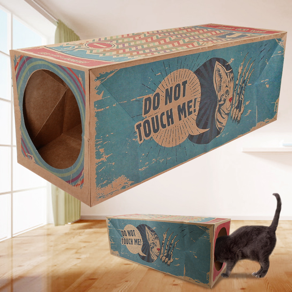 Cat Toy Tunnel Kitten Toys Interactive 60cm Long Foldable Cardboard Box Tunnels Funny Print Cats Home House No Collapse