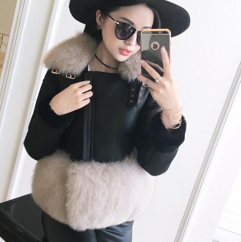 Nouveau mode De Luxe Femmes de Faux Manteau De Fourrure Imitation peau de mouton En Cuir Vêtements D'hiver Chaud À Manches Longues Veste S-2XL s1520