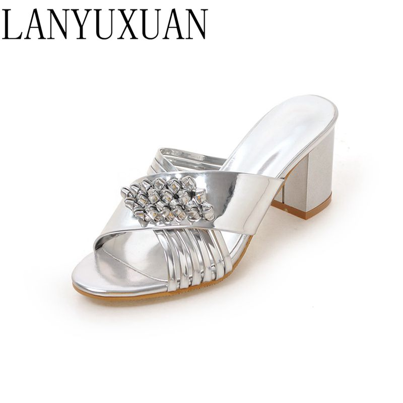LANYUXUAN 2017 Big & Small Size 33- 45 Ladies Slippers Sandals Platforms Fashion Dress Shoes Sexy High Heel Shoes Women 878 lanyuxuan 2017 new hot big