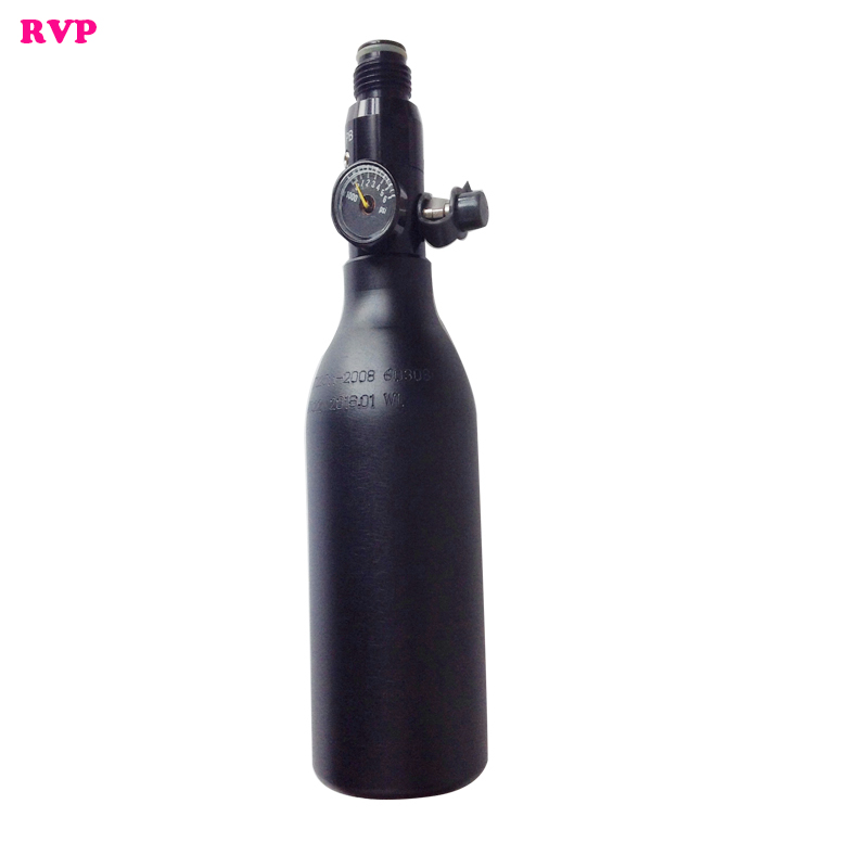 New 0.22L PCP Paintball Hunting Tank 300bar/4500psi HPA Cylinders With 1800psi Output Pressure Regulator Black
