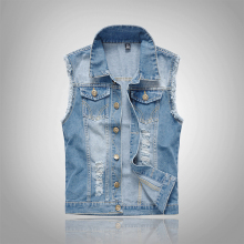 Light Blue Men Denim Vest Male Slim Fit Sleeveless Jackets Hole Washed Cowboy Brand Clothing Mens Jeans Waistcoat