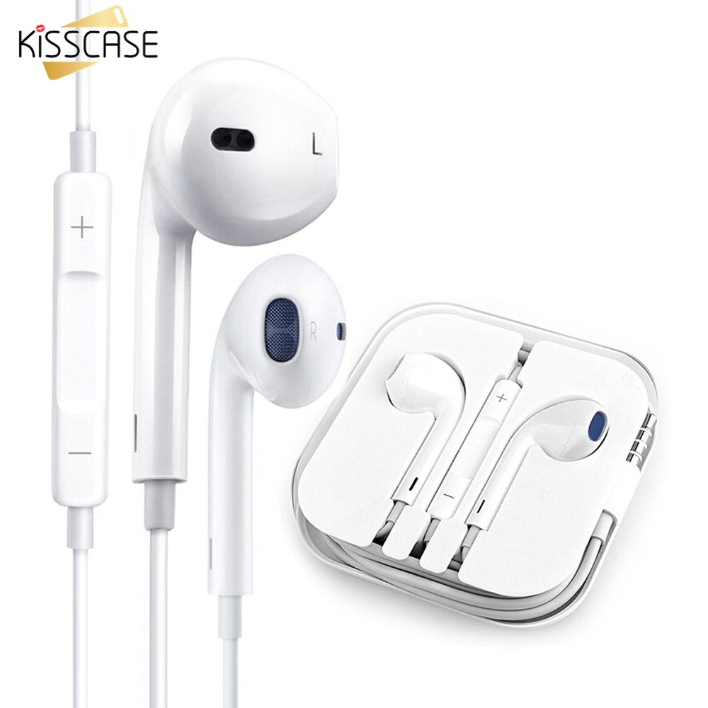 KISSCASE Volume Control Earphones Wire Earphone for Phone Music Earbuds Stereo Game headphones with Microphone for Xiaomi Huawei(China)
