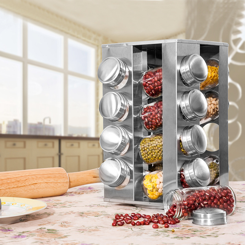 Revolving Countertop Spice Rack Stainless Steel Seasoning Storage Organization Spice Carousel Tower for Kitchen Set of
