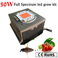 4 SETS DIY Hydroponic led grow lighting system , 50W full spectrum led +power supply+ new heatsink+cooler+ lens and reflector