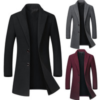Fashion Autumn Winter Casual Medium Length Lapel Woollen Windbreaker Jackets Single breasted long man coats winter 2018