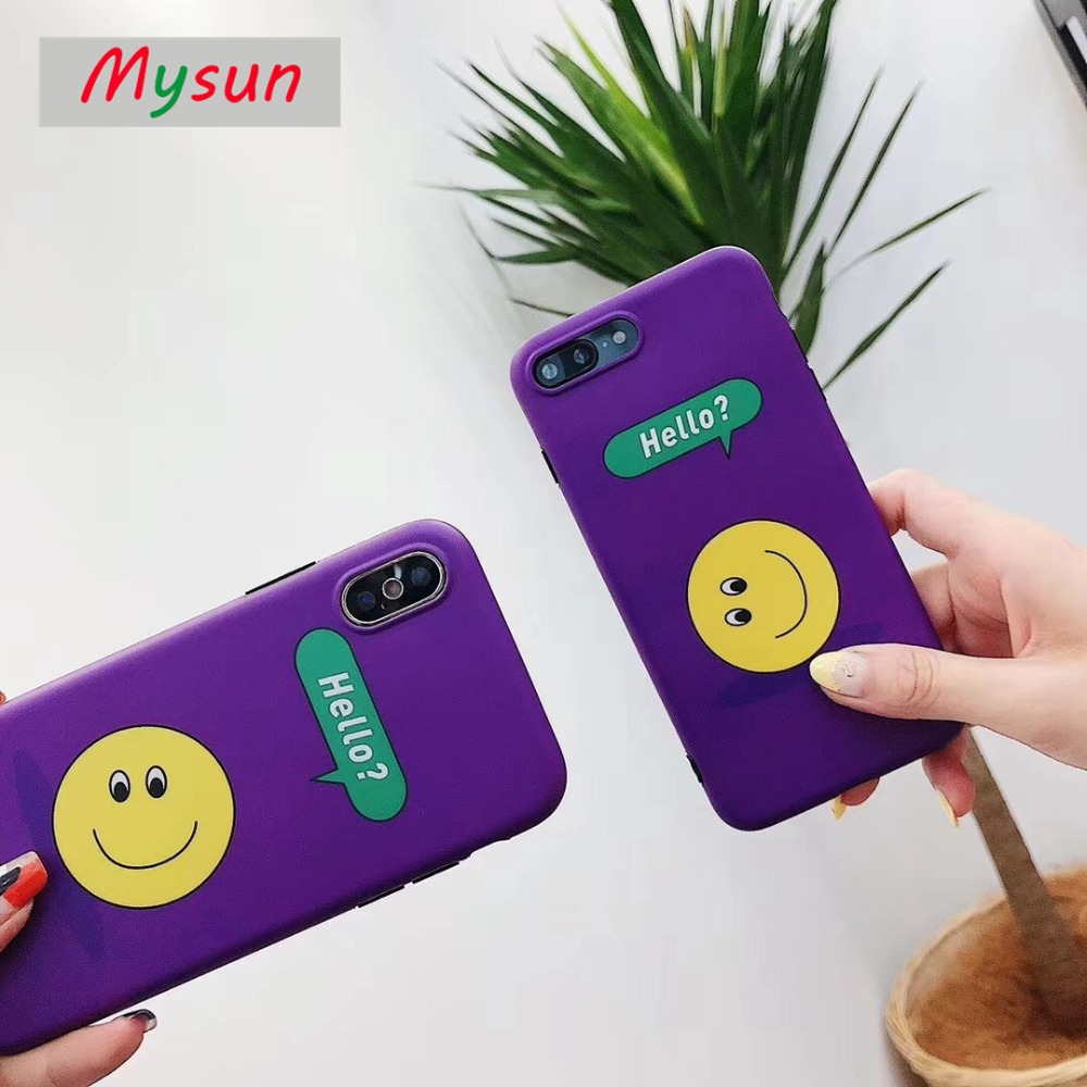 Phone Case For iphone X 6 6S 7 8 Plus Fashion Simple Purple with Yellow Smile Face Pattern Back Cover For iPhone7 Cell Phone bag