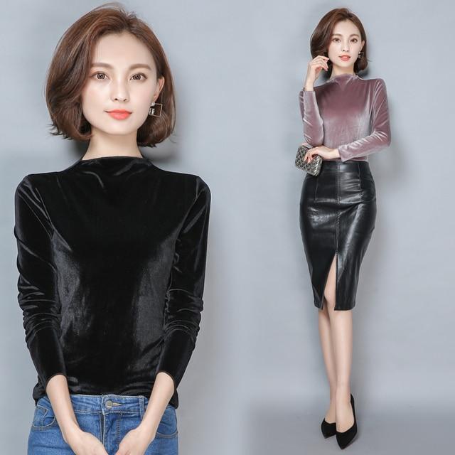 Veludo T Shirt Mulheres Tops Outono Inverno de Manga Comprida Plus Size T-shirt Da Forma Camiseta T Das Mulheres Camisa Feminina