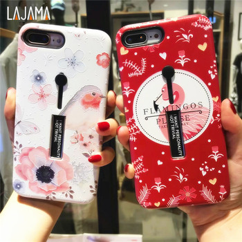 For iphone 6s 6 78 PLUS Fashion Flamingo silicone Ring Phone Case For iphone x Case Hide Stand Holder Cover For iphone 6s iPhone