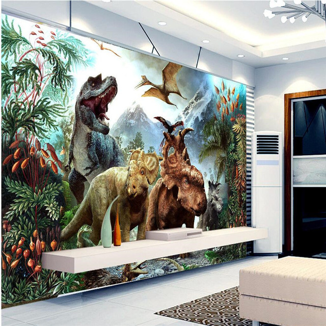 Beibehang Custom 3D Painting Living Room Wall Art Background Bedroom Embossed Dinosaur Murals Home Decoration Large