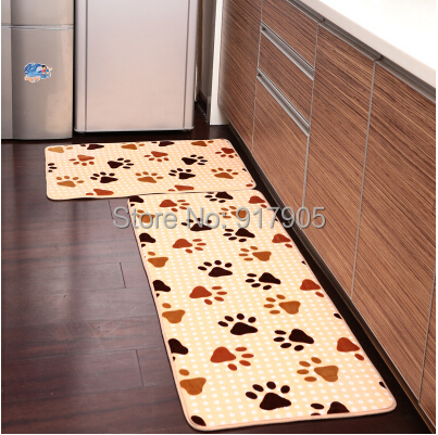 2-Piece Foot Print Kitchen Rug Set Bathroom Rug Sets Floor Runner Washable Bathroom Rug
