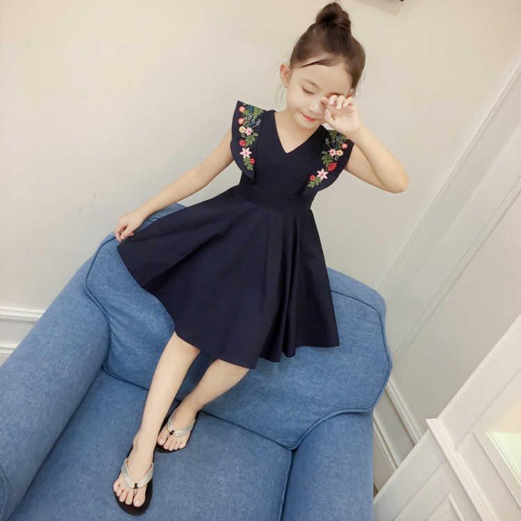 2018 Νέο καλοκαίρι Kids κορίτσια φορέματα Αμάνικο γλυκό V-λουλούδι ... f7ff9305aee