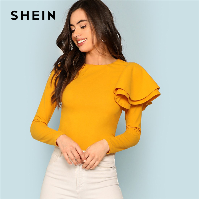 SHEIN Ginger Zip Back Ruffle One Sleeve Tee Elegant Solid  Slim Fit Long Sleeve T-shirt Top Women Modern Lady Autumn Tee Tops