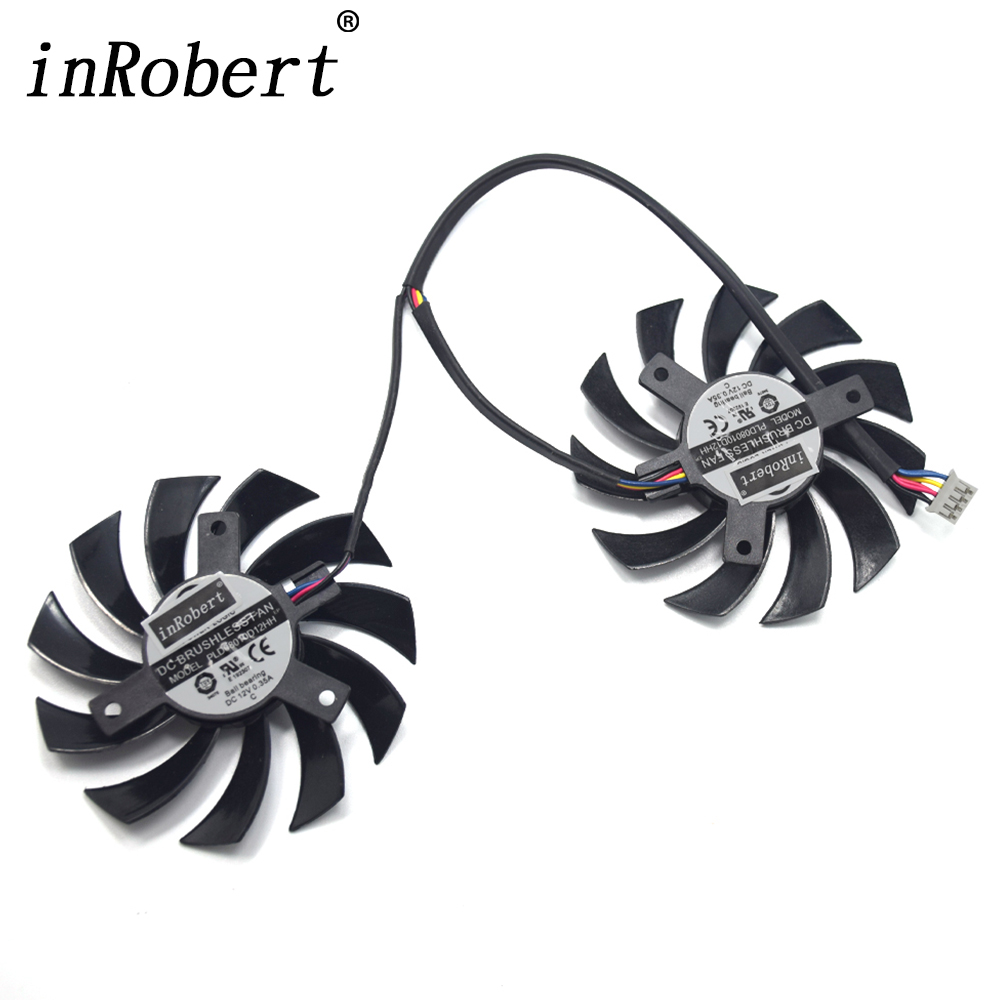 Power Logic 75mm PLD08010D12HH PLD08010S12HH ventilador para MSI GTX 460/480/560/570/580 /R5850/6790/6850/6870/6950 Gracphics tarjeta