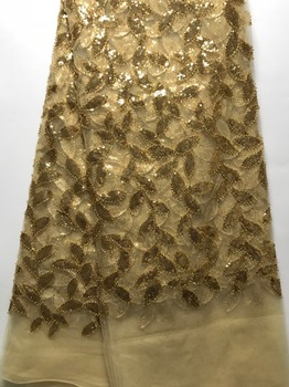 New Nigerian French Lace Fabrics 2019 Sequins African Tulle Lace Fabric High Quality African Lace Wedding Fabric For Dress