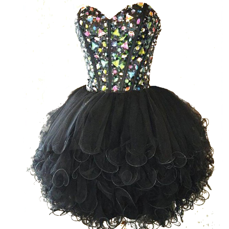 Black <font><b>Homecoming</b></font> Dresses 2016 Sweetheart Beaded with Crystals A Line Tulle Ruffles Short Party Gowns Vestido de festa curto