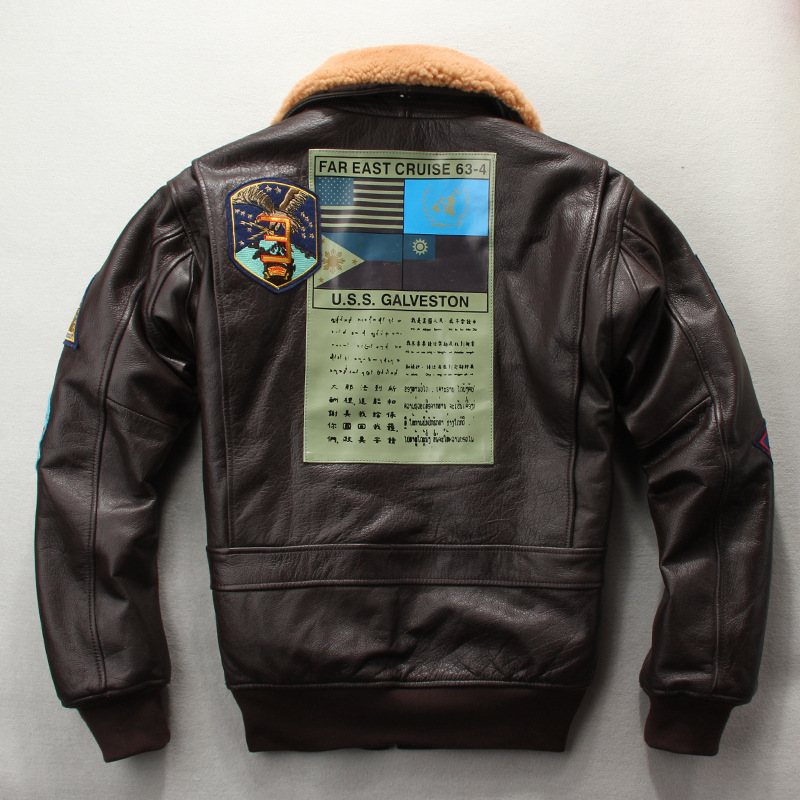 가을과 겨울 새로운 상위 레이어 쇠가죽 채찍으로 치다 모피 칼라 가죽 가죽 남성 플러스 코튼 자켓 g1 공군 비행 양복-에서진짜가죽 코트부터 남성 의류 의  그룹 3