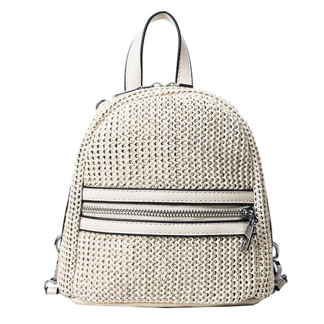 SFG HOUSE Casual Small Backpack Summer Beach Weave Women Bag Fashion Girl School Bag Women Travel