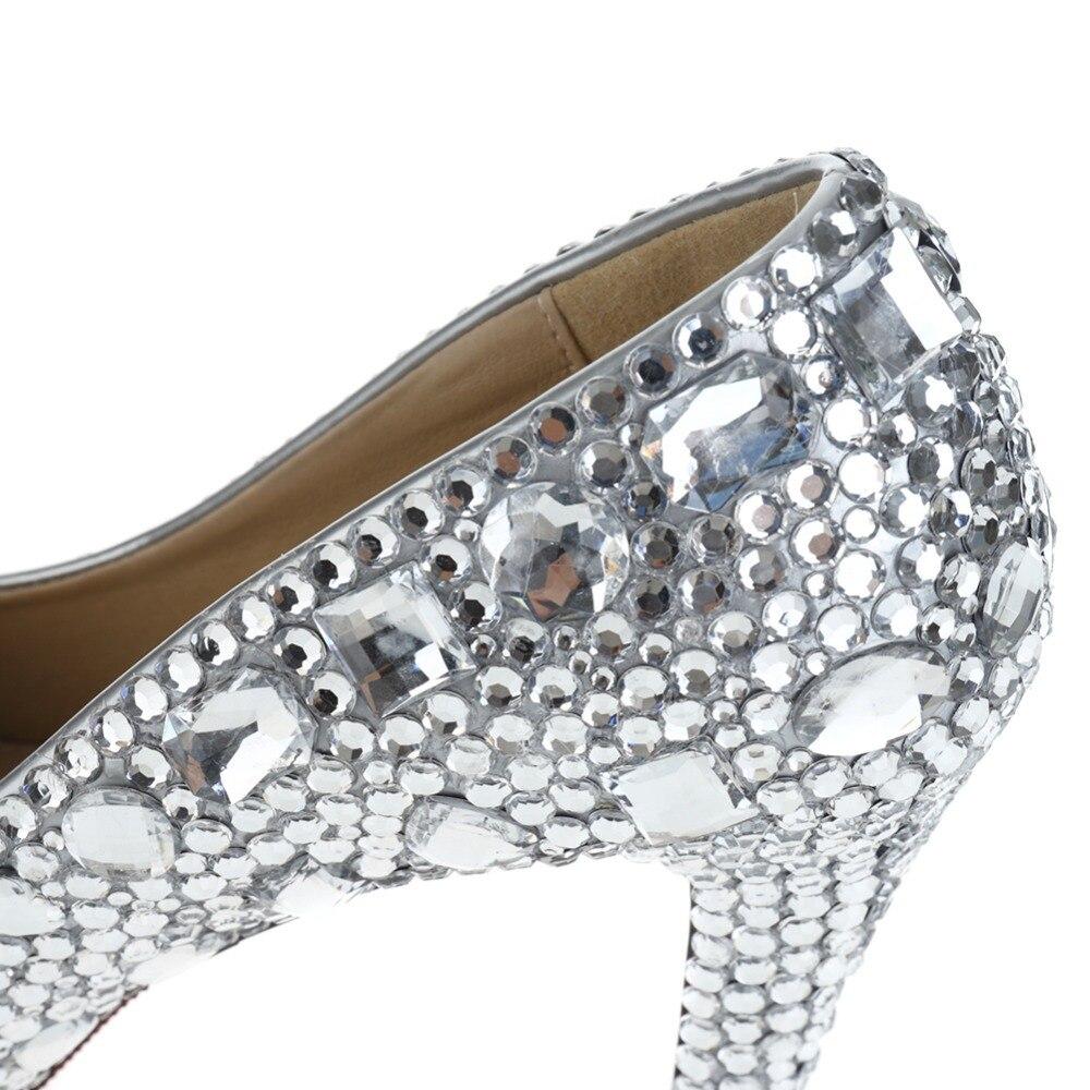 Women s Cute Short Silver Sparkly Rhinestone Prom High Heels Stilettos of  Wedding 35f92bd3a509