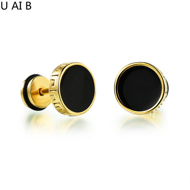 Hot Fashion Jewelry Cool Man Stud Earrings Round Rock Pie Retro Black Anium