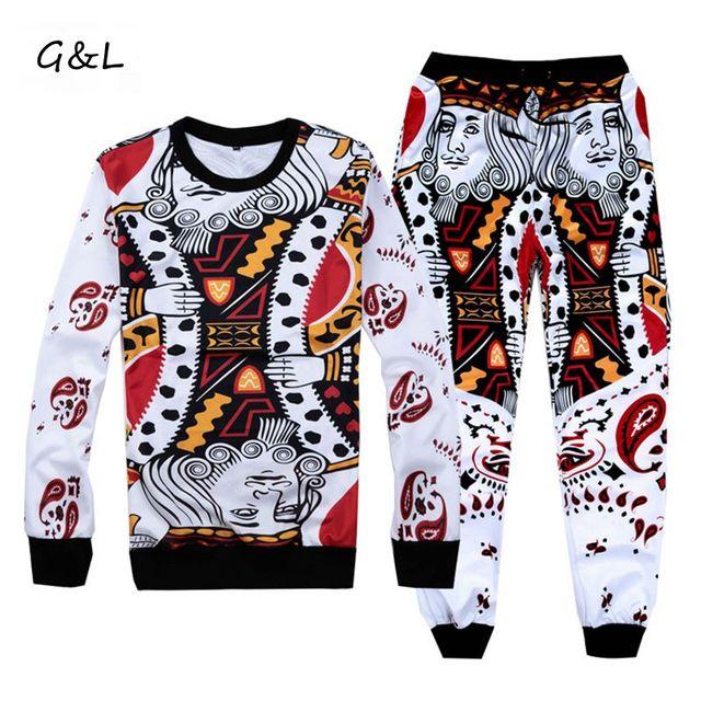 4fd62001 2018 New 3XL 4XL Plus size men Autumn/Winter print hip hop Poker hearts  Sets/Hoodies sweatshirts/emoji joggers pants/tracksuit