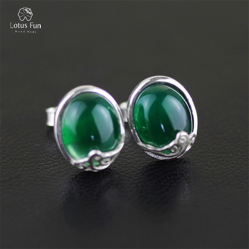 Lotus Fun 925 Sterling Silver Stud Earrings for Women Green/Red/Yellow/White Natural Chalcedony Stone Oval Earings Fine Jewelry