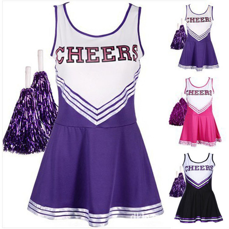 Women Girls Cheerleader Costume Cheer Uniform School Musical Party Halloween Costume Fancy Dress Sports Uniform With Pom Poms